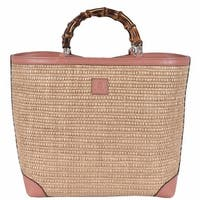 Gucci Kid's Straw Leather Bamboo Handles Flora Lining SMALL Tote Purse