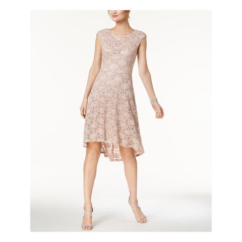 CONNECTED APPAREL Womens Pink Glitter Lace Hi-lo Cap Sleeve Crew Neck Knee Length Shift Prom Dress Size: 12