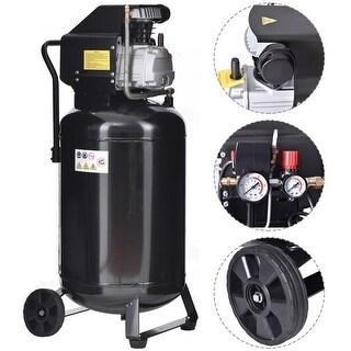 Gymax 21 Gallon 125 PSI Vertical Air Compressor Cast Iron 2.5HP Motor Portable - Black