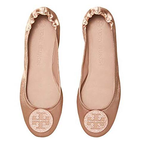 Tory Burch Womens Blush Satin Minnie Ballet Flat Shoes with Pave Logo