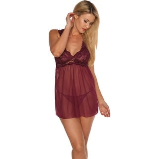 Just Sexy Lingerie Womens Plus Babydoll 2 Piece Lace-Trim