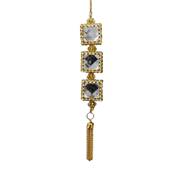 "6"" Deco and Diamonds Gold and Clear Square Three-Jewel Christmas Drop Ornament"