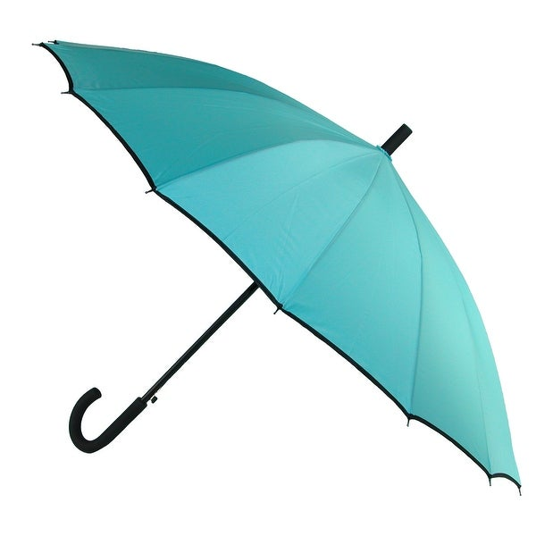 CTM® Women's 16 Panel Hook Stick Umbrella with Trim - one size