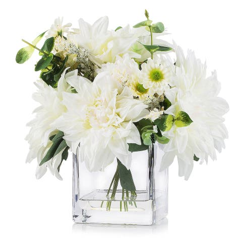 Enova Home Mixed Artificial Dahlia Flower Arrangement in Cube Glass Vase With Faux Water For Home Garden Decoration