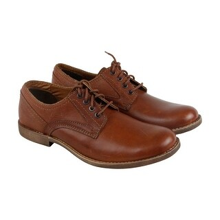 Calvin Klein Perry Smooth Mens Brown Leather Casual Dress Lace Up Oxfords Shoes