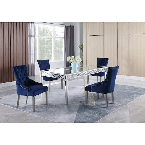 Best Master Furniture 5 Pieces Silver Mirorred Dining Set