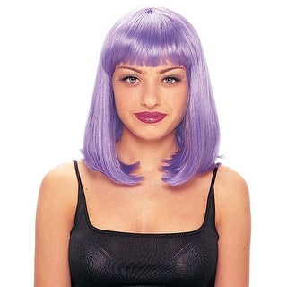 Purple Short Singing Star Halloween Costume Wig - standard - one size