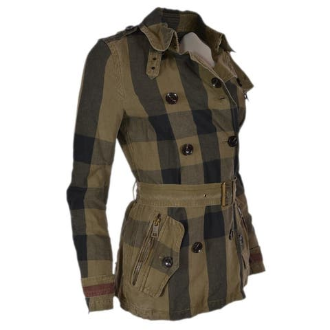 Burberry Brit Burnstead Cotton Linen Nova Check Trench Coat Jacket