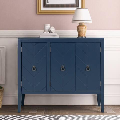 Solid Wood Storage Cabinet,Kitchen Sideboard With Adjustable Shelf,Navy Blue