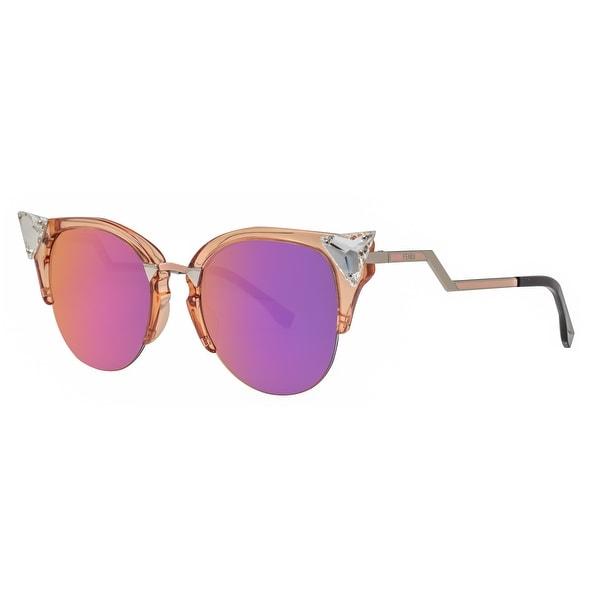 40eaf14d4022 Shop Fendi FF 0041 S 9F6 VQ Iridia Transparent Peach Women s Cat Eye ...
