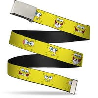 Blank Chrome Buckle Sponge Bob Expressions Yellow Webbing Web Belt