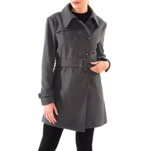 Alpine Swiss Keira Womens Wool Double Breasted Belted Trench Coat. Opens flyout.