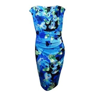 Lauren Ralph Lauren Women's Cowl Floral Jersey Dress - navy/blue/multi