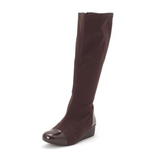 Ros Hommerson Womens Ebony Fabric Cap Toe Knee High Fashion Boots - 7.5