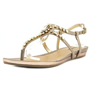 Kenneth Cole Reaction Lost Vegas Women Open Toe Synthetic Gold Thong Sandal