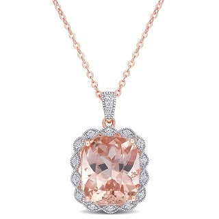 Link to Miadora Rose Plated Sterling Silver Cushion-cut Simulated Morganite & Cubic Zirconia Halo Drop Necklace - 18 inch x 16.1 mm Similar Items in Necklaces