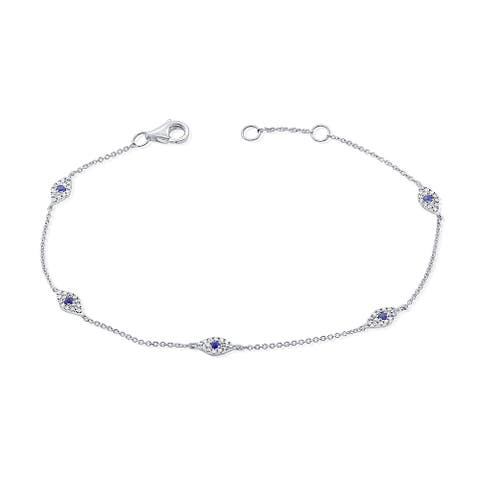 Evil Eye Bracelet Sapphire & Diamond 14K White Gold by Joelle Collection
