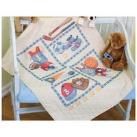"Baby Hugs Little Sports Quilt Stamped Cross Stitch Kit-34""X43"""