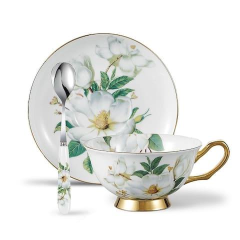 Panbado Bone China Camellia Oleifera Tea Cup with Saucer Spoon