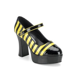 Pleaser Sexy Bee Stinger Adult Platform Mary Jane Shoes - black/yellow