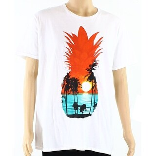 Fruit of the Loom NEW White Mens Size Large L Pineapple Graphic Tee T-Shirt 279