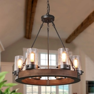 Carbon Loft Weeden 6-light Rustic Wood Wagon Wheel and Glass Chandelier