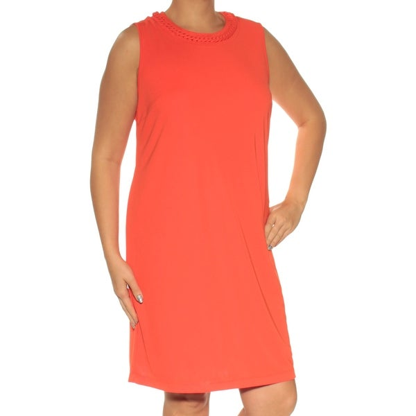 Shop Dkny Womens Orange Sleeveless Jewel Neck Above The Knee Shift