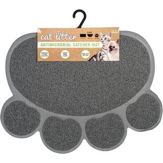 """Nandog Cat Litter Mat Paw Shape 18""""X24""""-Gray"""