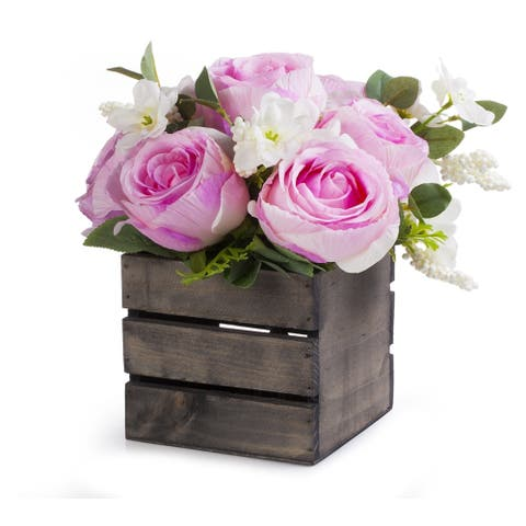 Enova Home Artificial Mixed Silk Roses Fake Flowers Arrangement in Wood Planter for Home Office Wedding Decoration