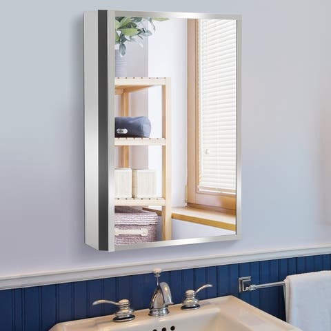 "HomCom Vertical 24"" Stainless Steel Bathroom Wall Mirror Medicine Cabinet"