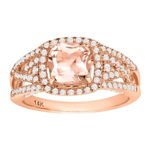1 1/2 ct Natural Morganite & 1/2 ct Diamond Ring in 14K Rose Gold - Pink