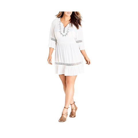 City Chic Womens Plus Peasant Dress Boho Embroidered - Ivory