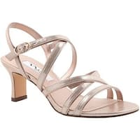 Nina Women's Genaya Strappy Sandal Taupe Reflective Suedette/Fairy Dust