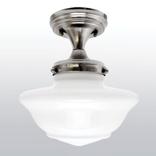 Design House 577494 Schoolhouse Single Light Ceiling Fixture with Opal Glass Shade