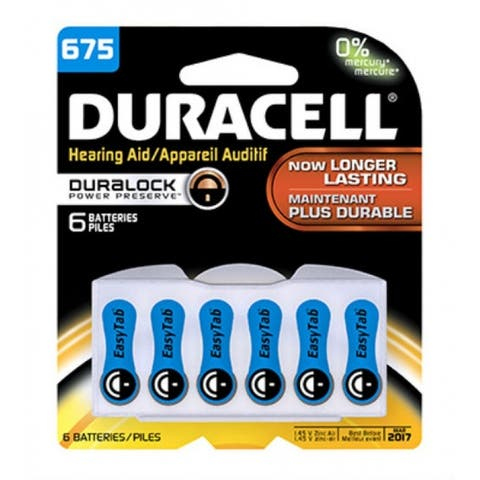 Duracell 00433 Hearing Aid Battery with EasyTab, No. 675, 6-Pack