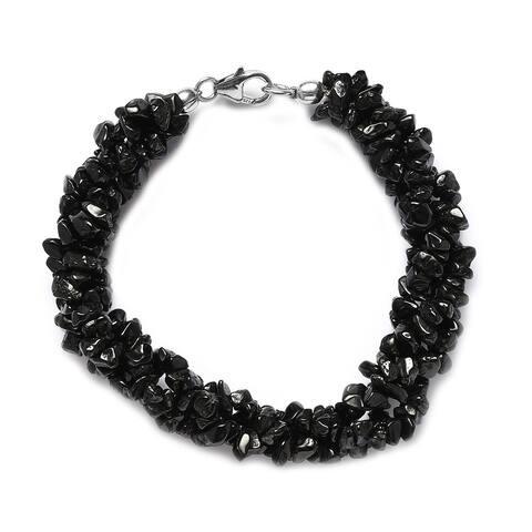 Platinum Over 925 Silver Black Spinel Beaded Bracelet 7.25 In Ct 118.8 - Bracelet 7.25''