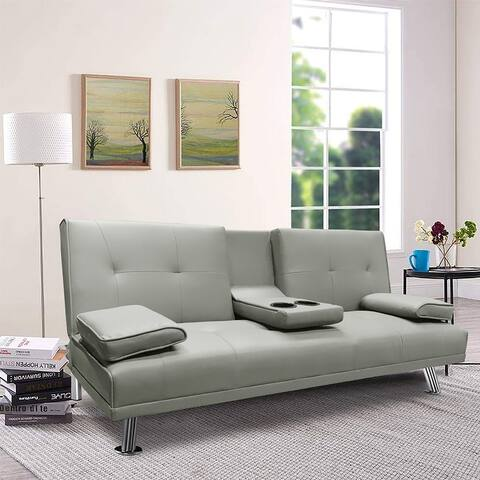 Leather Sofa Bed Convertible Futon 2 Cup Holders