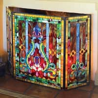 Tiffany Style Stained Glass Fleur de Lis Fireplace Screen