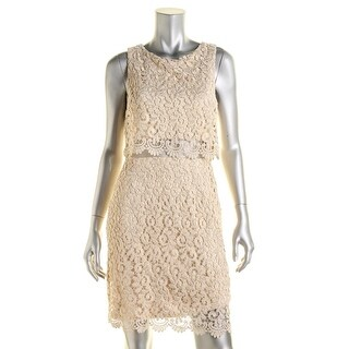 Betsy & Adam Womens Metallic Lace Cocktail Dress - 14