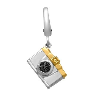 Camera Charm with Brown Diamonds in Sterling Silver & 14K Gold - CHOCOLATE