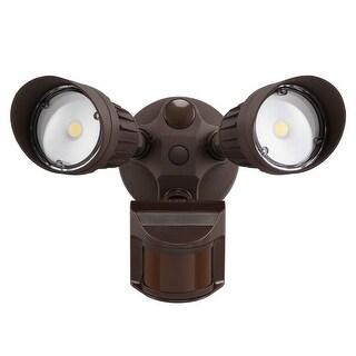 Dual-Head LED Outdoor Security Light,3000K,Bronze