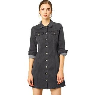 Women's 3/4 Sleeve Button Down Denim Shirt Dress