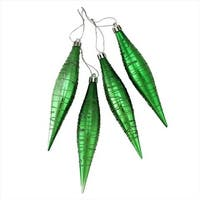 Green Glitter Striped Shatterproof Christmas Drop Finial Ornament -