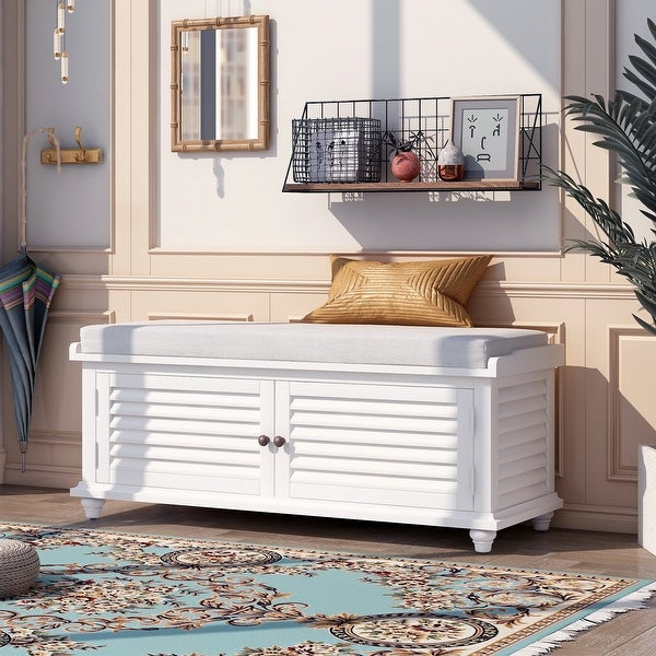 Louver Design Entryway Wooden Storage & Shoe Bench with Cushion, White. Opens flyout.