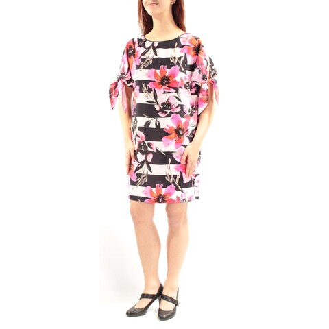 VINCE CAMUTO Womens Pink Tie Floral Short Sleeve Jewel Neck Above The Knee Shift Wear To Work Dress Size: 8