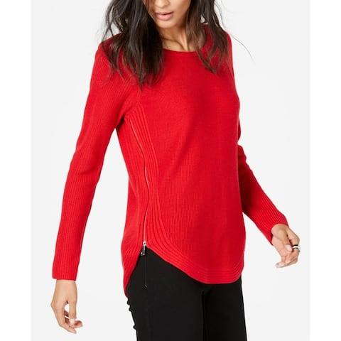 INC International Concepts Women's Waffle-Knit Side-Zip Tunic Sweater Red Size Medium