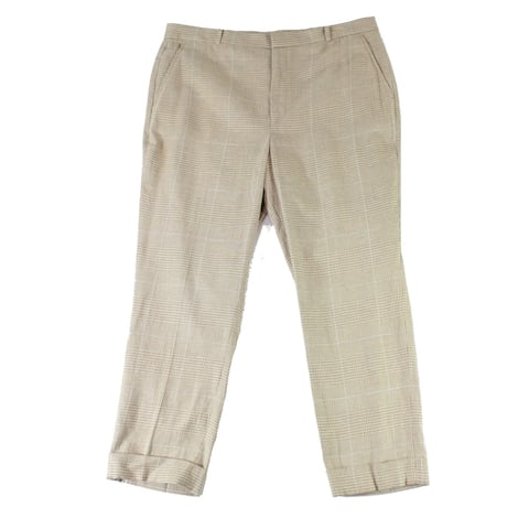 Lauren by Ralph Lauren Womens Pants Beige Size 8 Dress Plaid Stretch