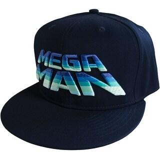 Capcom Mega Man 8Bit Logo Flat Brim Snapback Hat - Navy