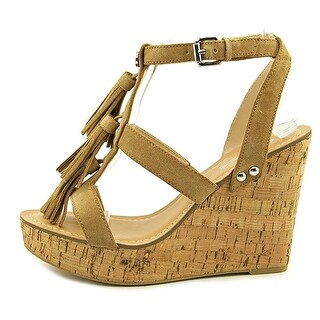 GUESS Womens Heya Open Toe Ankle Strap Wedge Pumps
