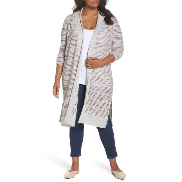 Nic + Zoe Gray Women's Size 2X Plus Marled Knit Cardigan Sweater